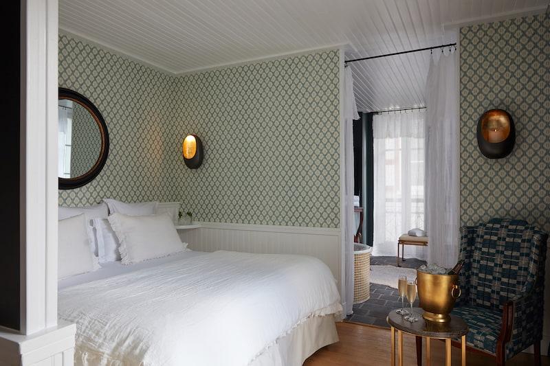 Chambre carré mrytille d'un hôtel à Megève